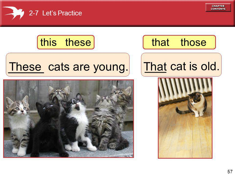 57 _____ cats are young. These ___ cat is old. That 2-7 Lets Practice this thesethat those