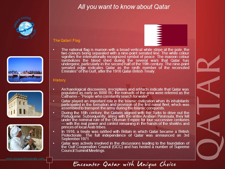 All you want to know about Qatar The Qatari Flag The national flag is maroon with a broad vertical white stripe at the pole, the two colours being sep