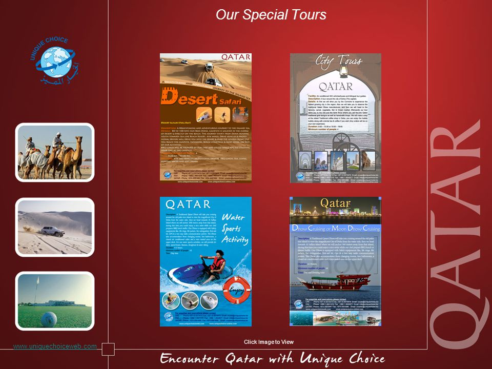 Our Special Tours www.uniquechoiceweb.com Click Image to View
