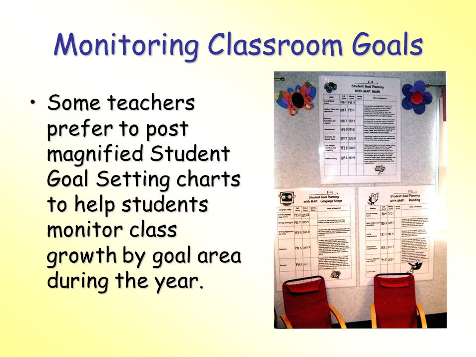 Monitoring Classroom Goals Some teachers prefer to post magnified Student Goal Setting charts to help students monitor class growth by goal area during the year.Some teachers prefer to post magnified Student Goal Setting charts to help students monitor class growth by goal area during the year.