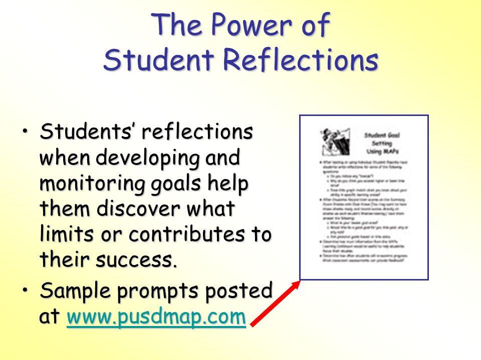 The Power of Student Reflections Students reflections when developing and monitoring goals help them discover what limits or contributes to their success.Students reflections when developing and monitoring goals help them discover what limits or contributes to their success.