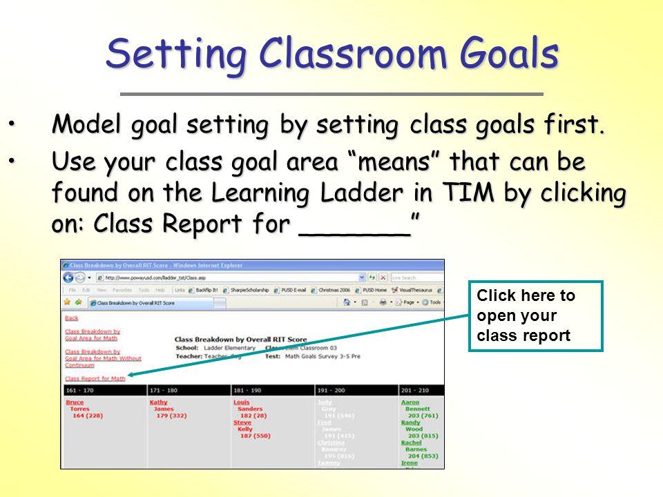 Setting Classroom Goals Model goal setting by setting class goals first.Model goal setting by setting class goals first.