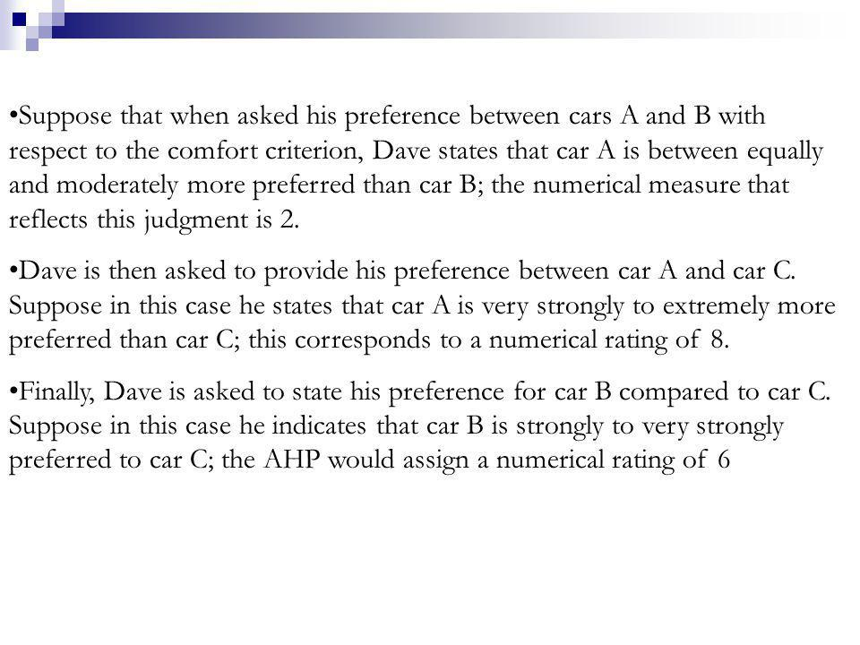 Suppose that when asked his preference between cars A and B with respect to the comfort criterion, Dave states that car A is between equally and moder