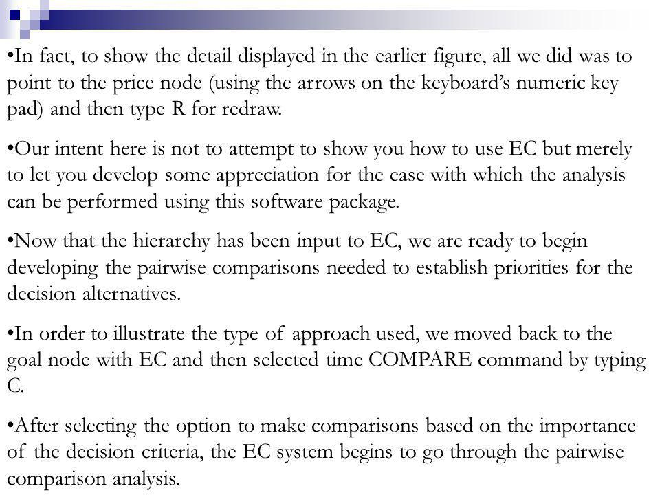 In fact, to show the detail displayed in the earlier figure, all we did was to point to the price node (using the arrows on the keyboards numeric key