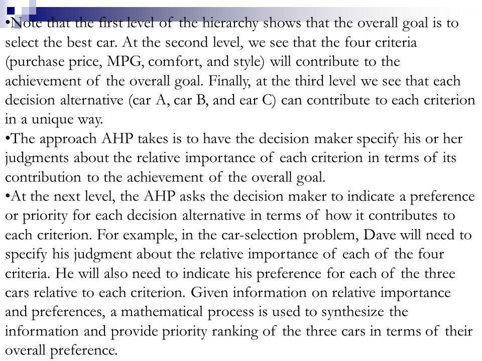Note that the first level of the hierarchy shows that the overall goal is to select the best car. At the second level, we see that the four criteria (