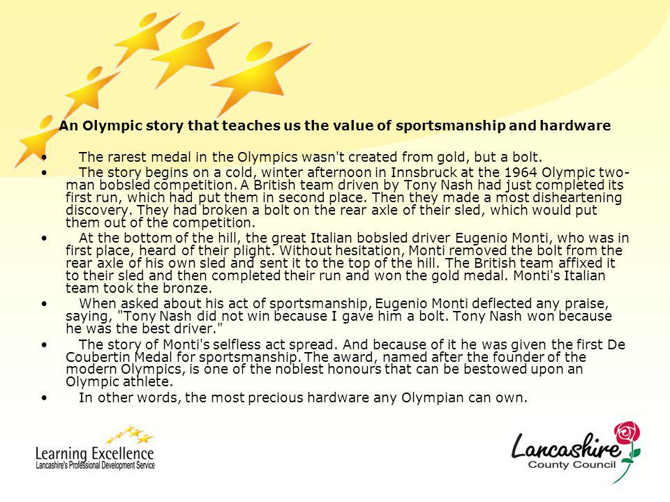 An Olympic story that teaches us the value of sportsmanship and hardware The rarest medal in the Olympics wasn't created from gold, but a bolt. The st