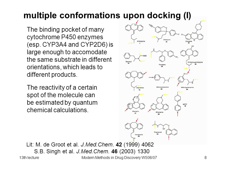 13th lectureModern Methods in Drug Discovery WS06/078 multiple conformations upon docking (I) The binding pocket of many cytochrome P450 enzymes (esp.
