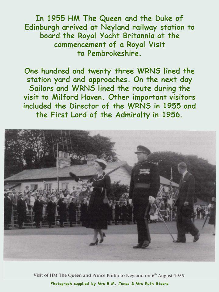 In 1955 HM The Queen and the Duke of Edinburgh arrived at Neyland railway station to board the Royal Yacht Britannia at the commencement of a Royal Visit to Pembrokeshire.