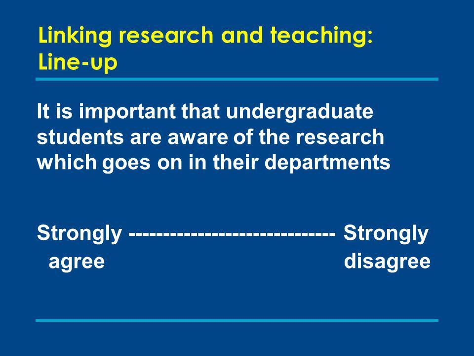 Linking research and teaching: institutional perspectives Skim read the abstracts for ONE group of INSTITUTIONS pp18-24 In pairs, discuss whether any of the ideas may be amended for application in your institution 5 minutes For a framework for analysing institutional strategies see p28