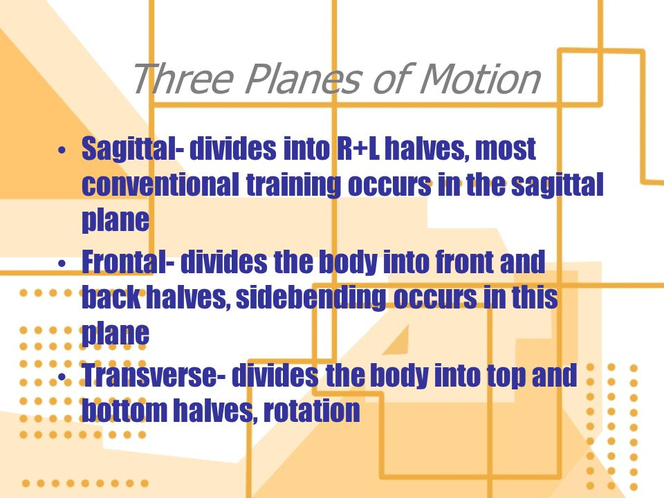 Three Planes of Motion Sagittal- divides into R+L halves, most conventional training occurs in the sagittal plane Frontal- divides the body into front