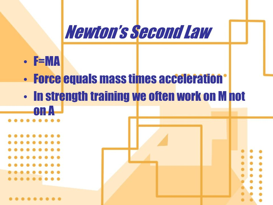 Newtons Second Law F=MA Force equals mass times acceleration In strength training we often work on M not on A F=MA Force equals mass times acceleratio