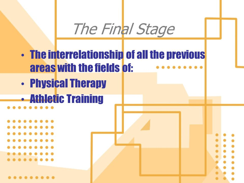 The Final Stage The interrelationship of all the previous areas with the fields of: Physical Therapy Athletic Training The interrelationship of all th