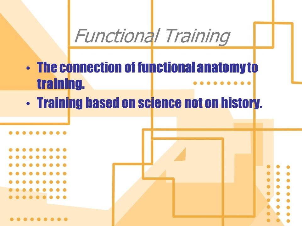 Functional Training The connection of functional anatomy to training. Training based on science not on history. The connection of functional anatomy t