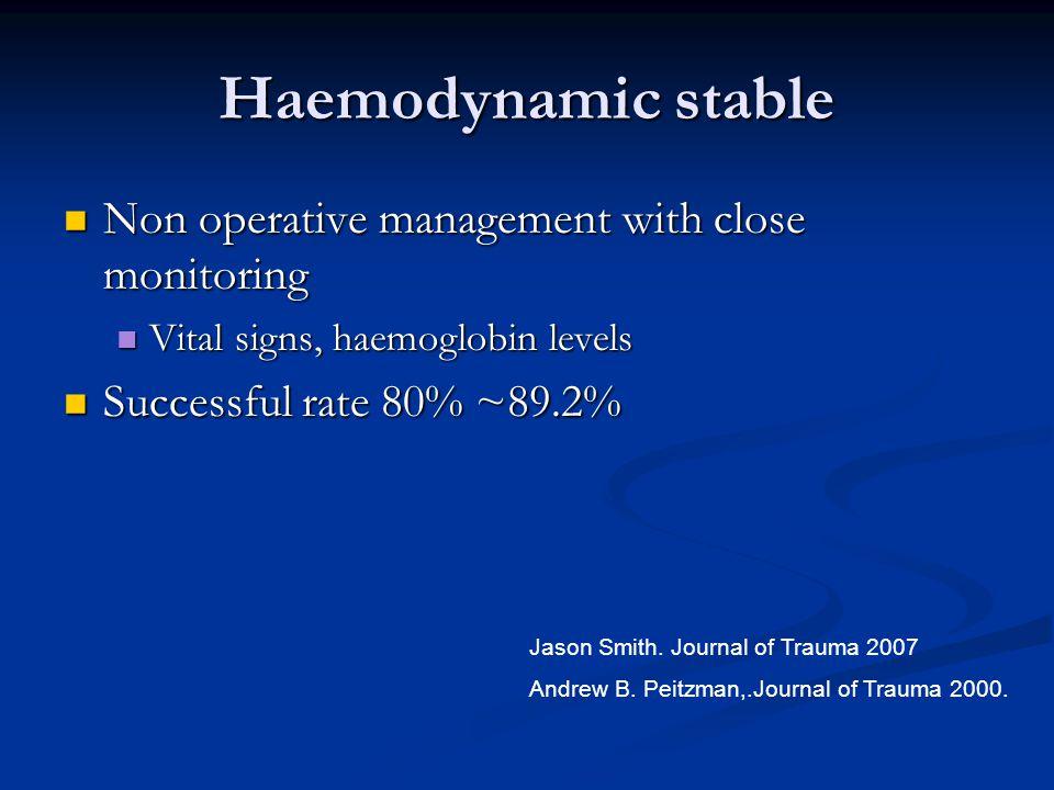 Haemodynamic stable Non operative management with close monitoring Non operative management with close monitoring Vital signs, haemoglobin levels Vita