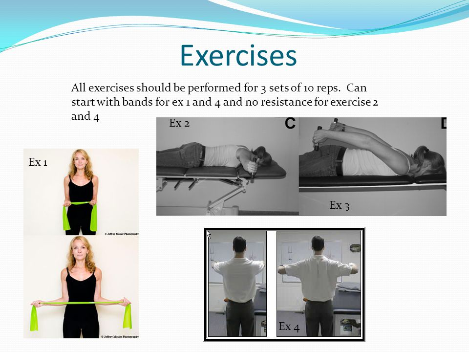 Exercises All exercises should be performed for 3 sets of 10 reps.