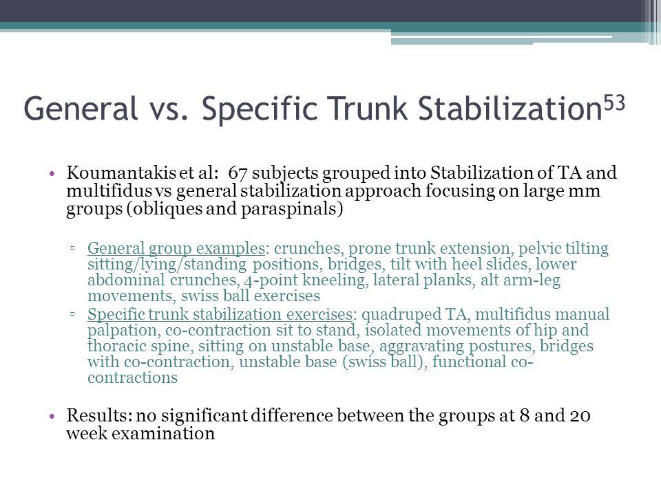 General vs. Specific Trunk Stabilization 53 Koumantakis et al: 67 subjects grouped into Stabilization of TA and multifidus vs general stabilization ap
