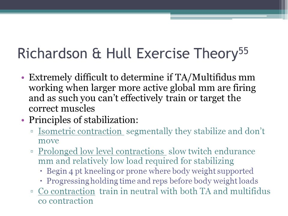 Richardson & Hull Exercise Theory 55 Extremely difficult to determine if TA/Multifidus mm working when larger more active global mm are firing and as
