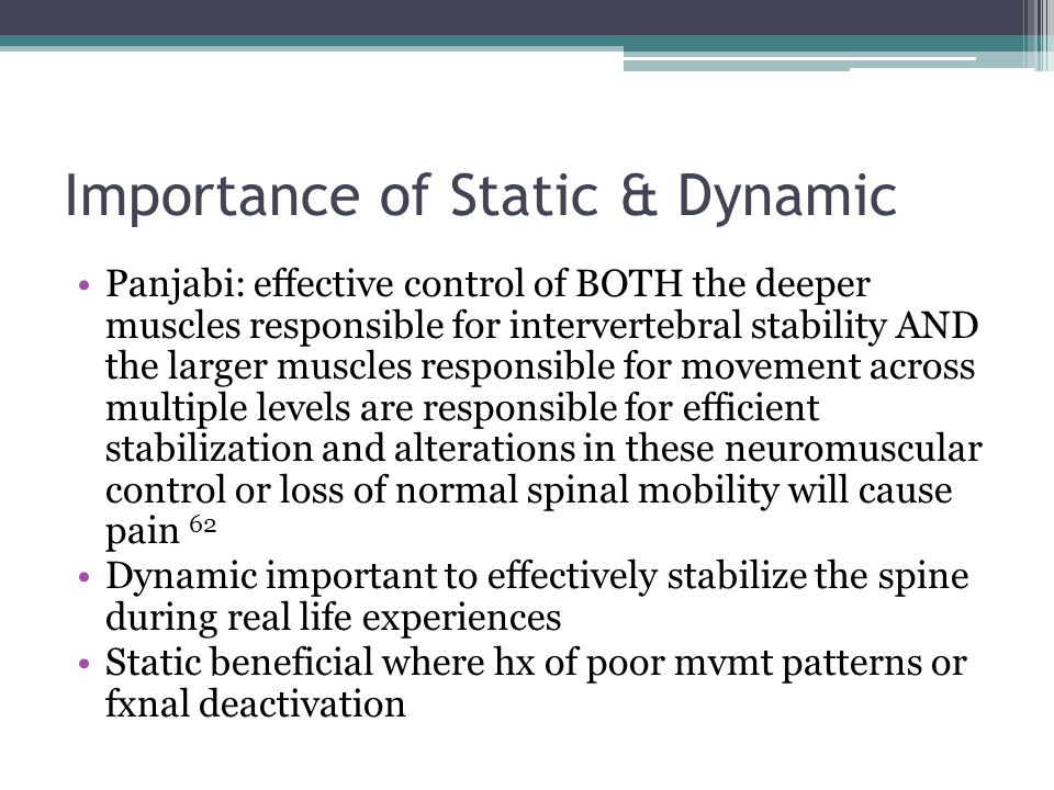 Importance of Static & Dynamic Panjabi: effective control of BOTH the deeper muscles responsible for intervertebral stability AND the larger muscles r