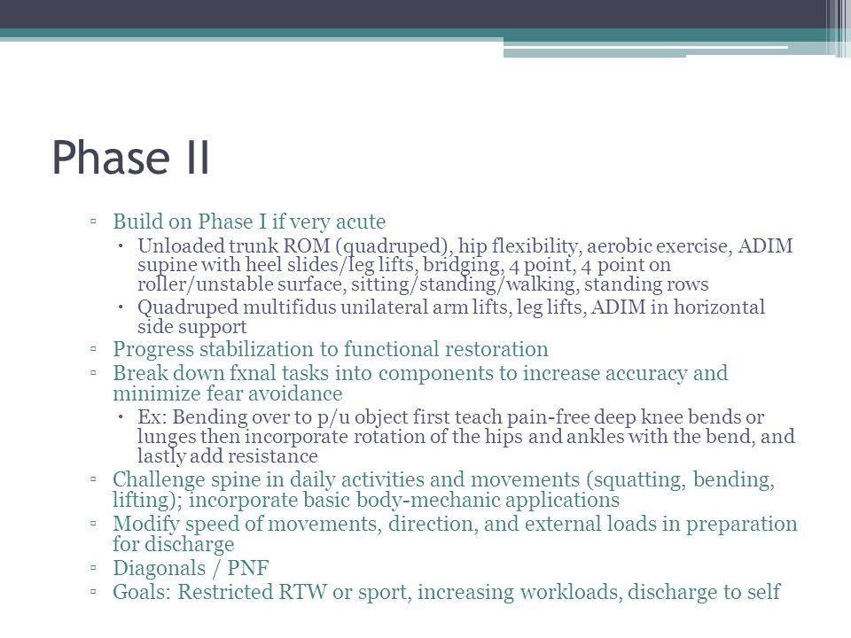 Phase II Build on Phase I if very acute Unloaded trunk ROM (quadruped), hip flexibility, aerobic exercise, ADIM supine with heel slides/leg lifts, bri