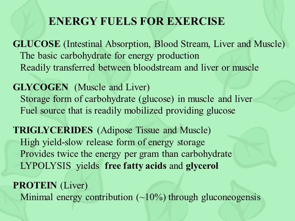ENERGY FUELS FOR EXERCISE GLUCOSE (Intestinal Absorption, Blood Stream, Liver and Muscle) The basic carbohydrate for energy production Readily transferred between bloodstream and liver or muscle GLYCOGEN (Muscle and Liver) Storage form of carbohydrate (glucose) in muscle and liver Fuel source that is readily mobilized providing glucose TRIGLYCERIDES (Adipose Tissue and Muscle) High yield-slow release form of energy storage Provides twice the energy per gram than carbohydrate LYPOLYSIS yields free fatty acids and glycerol PROTEIN (Liver) Minimal energy contribution (~10%) through gluconeogensis