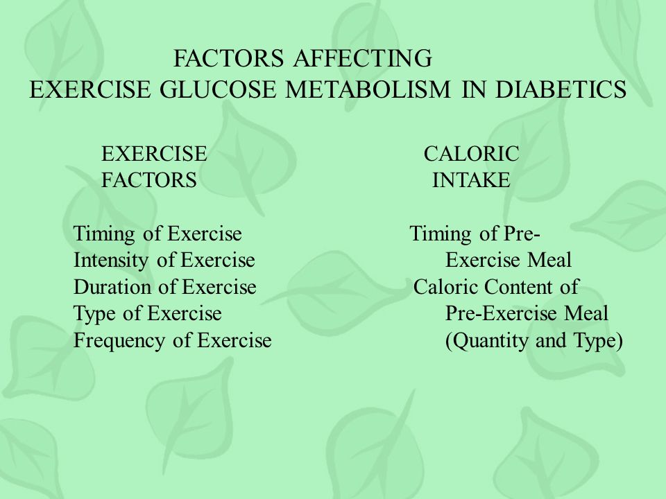 FACTORS AFFECTING EXERCISE GLUCOSE METABOLISM IN DIABETICS EXERCISE CALORIC FACTORS INTAKE Timing of Exercise Timing of Pre- Intensity of Exercise Exercise Meal Duration of Exercise Caloric Content of Type of Exercise Pre-Exercise Meal Frequency of Exercise (Quantity and Type)