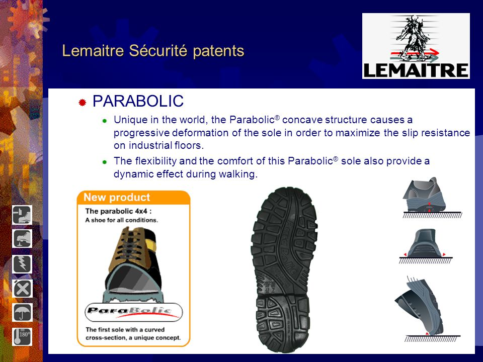Lemaitre Sécurité patents 5 essential PATENTS: PARABOLICConcave sole CIRCULAIRventilation system DEOSHOESDeodorizer BI-DENSITY WINDOWShock absorption ISOLSHOEInsulation system