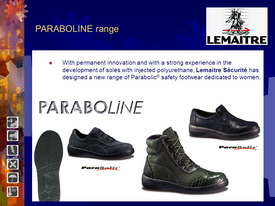 4 x 4 range The 4 x 4 range of Lemaitre Sécurité adapts to the nature of the ground thanks to the modular design of the cleats, combined with Parabolic ® profile of the sole.