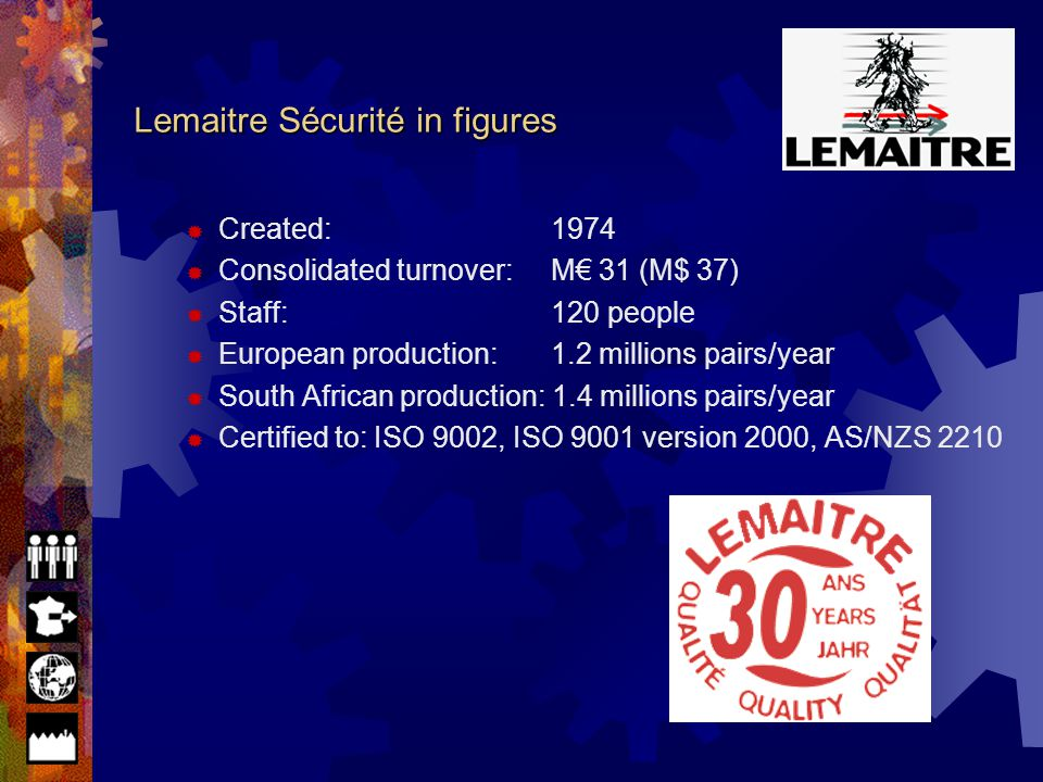 Lemaitre Sécurité in figures Lemaitre Sécurité in figures Production sites Production sites Lemaitre Sécurité Lemaitre Sécurité in the world Lemaitre Lemaitre Sécurité in France Manufacturing equipment Manufacturing equipment Organization of the group - List of subsidiaries Organization of the group - List of subsidiaries Dynamics of the sector Dynamics of the sector Commercial and marketing strategies Commercial and marketing strategies Commercial organization - France Commercial organization - France Commercial organization - Export Commercial organization - Export Lemaitre Sécurité patents Lemaitre Sécurité patents Segmentation of the range Segmentation of the range Certifications Standards Material Shipping Content of the presentation
