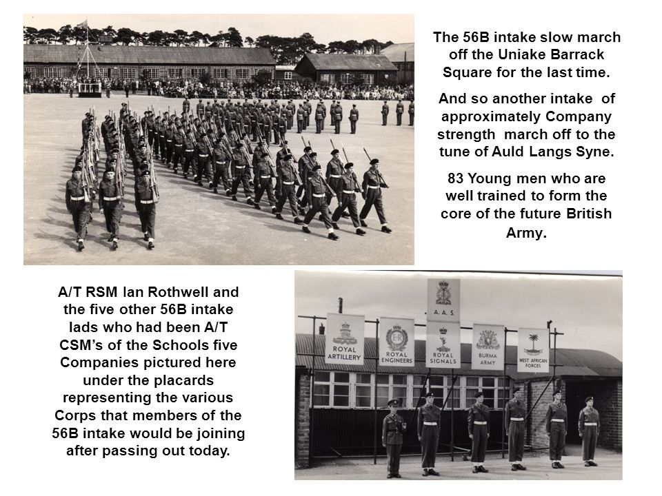 Having completed a march past in quick time with the rest of the school the Senior term march past in slow time in review order to the Grenadier Guards slow March Scipio Perfectly lined as they march past the saluting base.