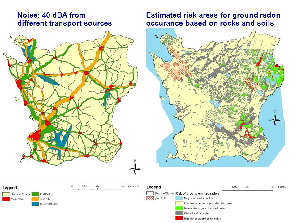 Noise: 40 dBA from different transport sources Estimated risk areas for ground radon occurance based on rocks and soils