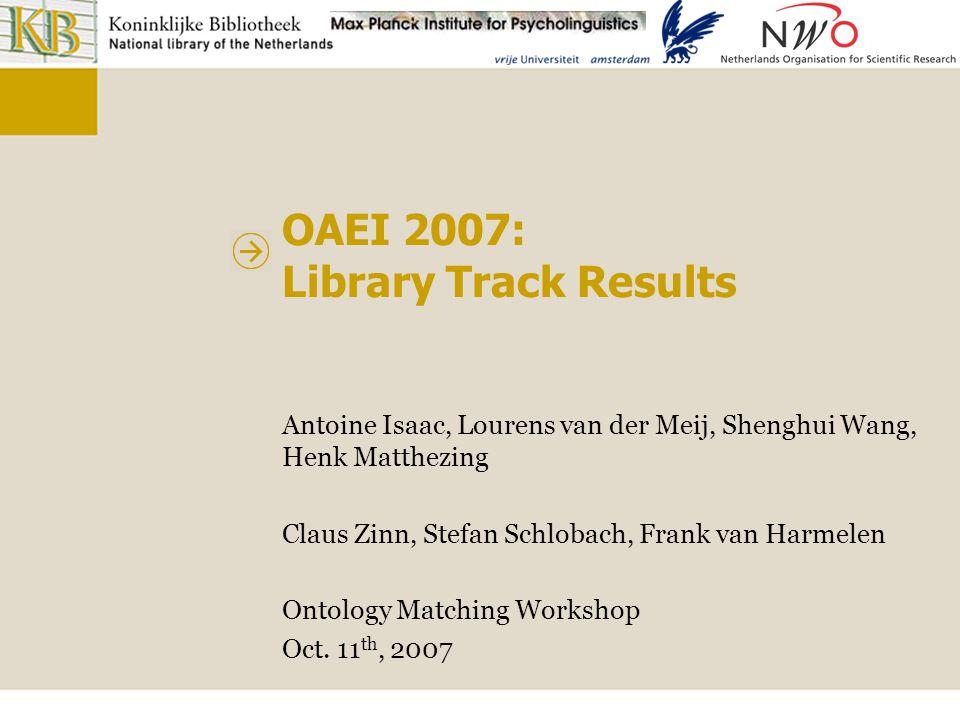OAEI 2007: Library Track Results Antoine Isaac, Lourens van der Meij, Shenghui Wang, Henk Matthezing Claus Zinn, Stefan Schlobach, Frank van Harmelen Ontology Matching Workshop Oct.