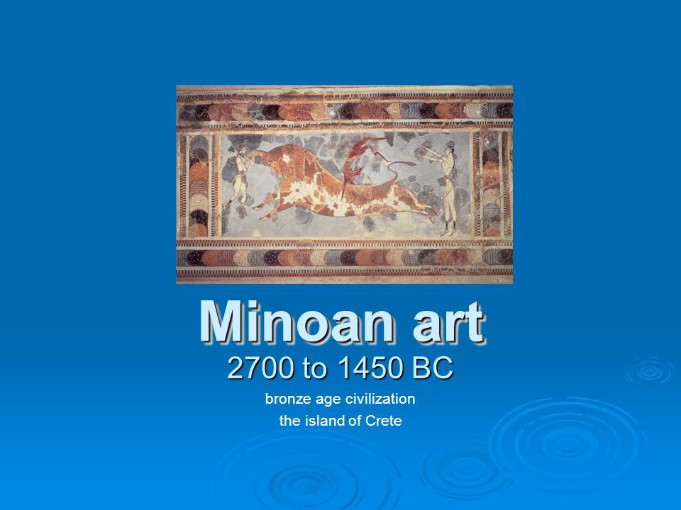 Minoan Civilization The beginning of its Bronze Age, around 2600 BC, marks the beginning of Crete as an important center of civilization.