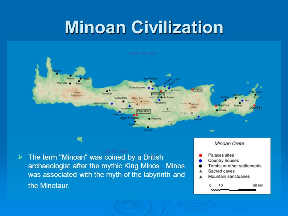 Minoan Civilization Since wood and textiles have vanished through decomposition, the most important surviving examples of Minoan art are Minoan pottery, the palace architecture and frescos, stone carvings, and intricately carved seal stones.