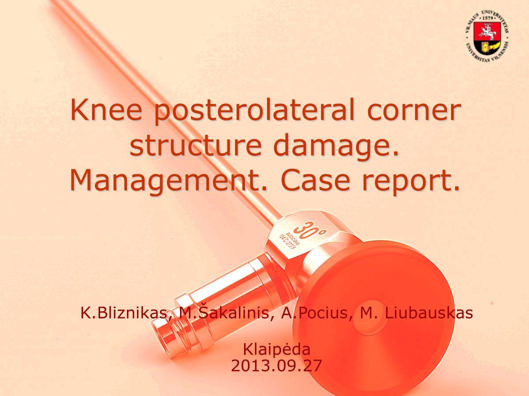 Knee posterolateral corner structure damage.Management.