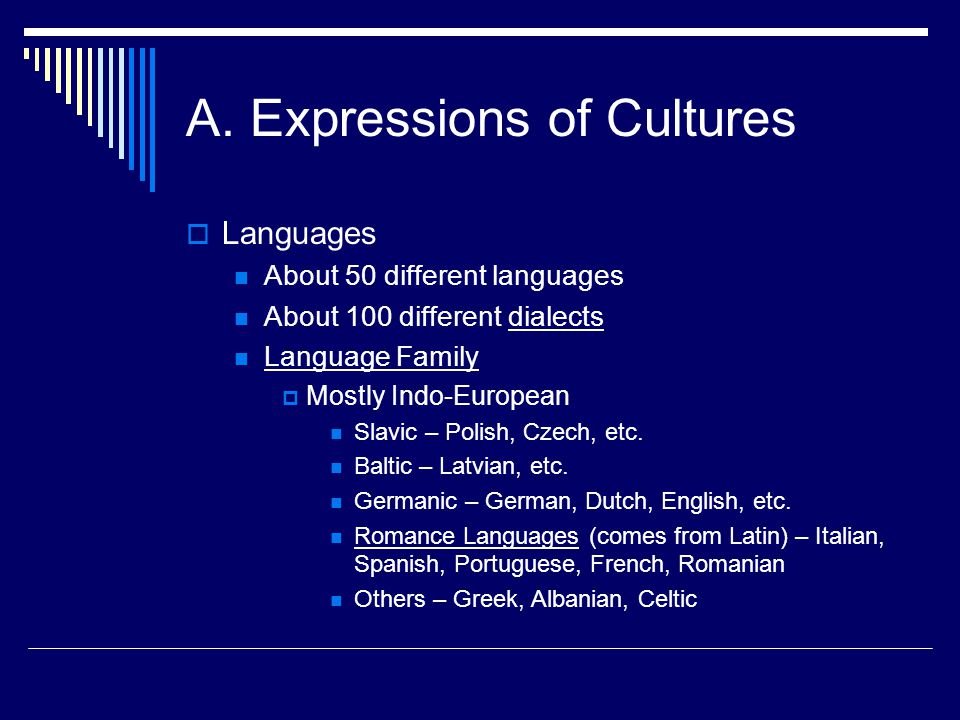 A. Expressions of Cultures Languages About 50 different languages About 100 different dialects Language Family Mostly Indo-European Slavic – Polish, C