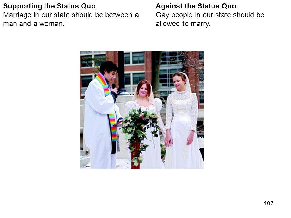 107 Against the Status Quo. Gay people in our state should be allowed to marry.