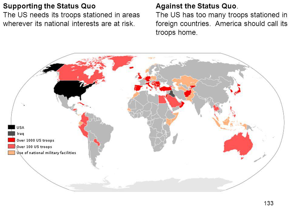 133 Against the Status Quo. The US has too many troops stationed in foreign countries.