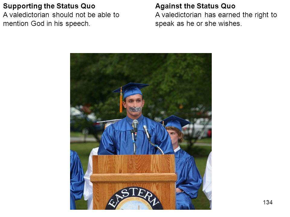 134 Against the Status Quo A valedictorian has earned the right to speak as he or she wishes.