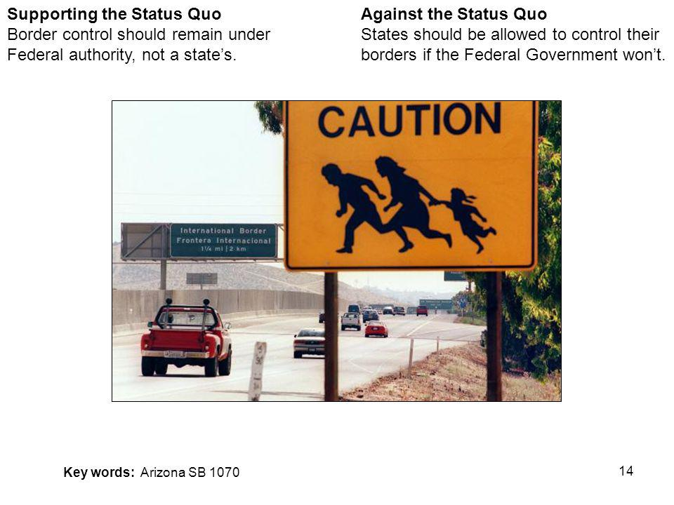 14 Against the Status Quo States should be allowed to control their borders if the Federal Government wont.