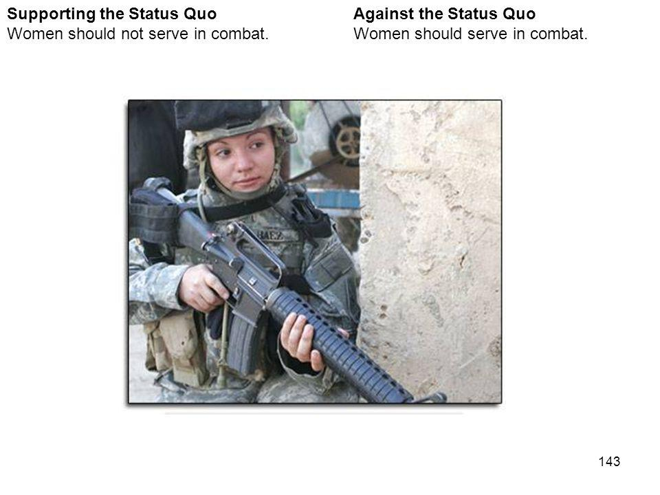 143 Against the Status Quo Women should serve in combat. Supporting the Status Quo Women should not serve in combat. Women in Combat