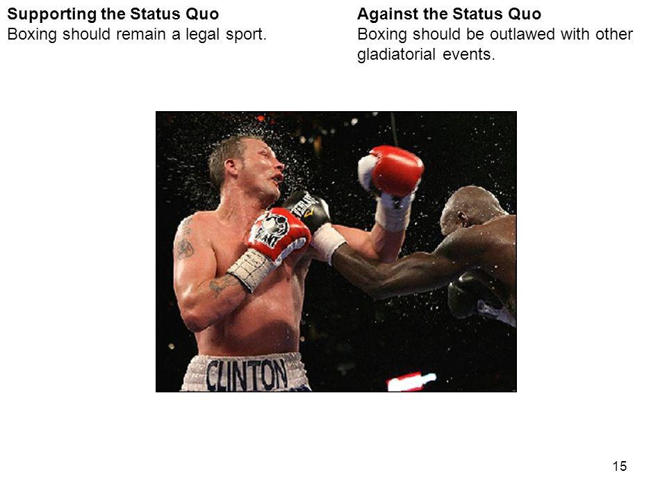 15 Against the Status Quo Boxing should be outlawed with other gladiatorial events.