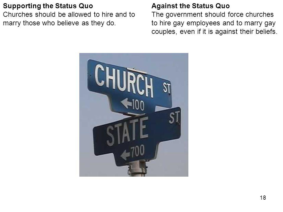 18 Against the Status Quo The government should force churches to hire gay employees and to marry gay couples, even if it is against their beliefs.