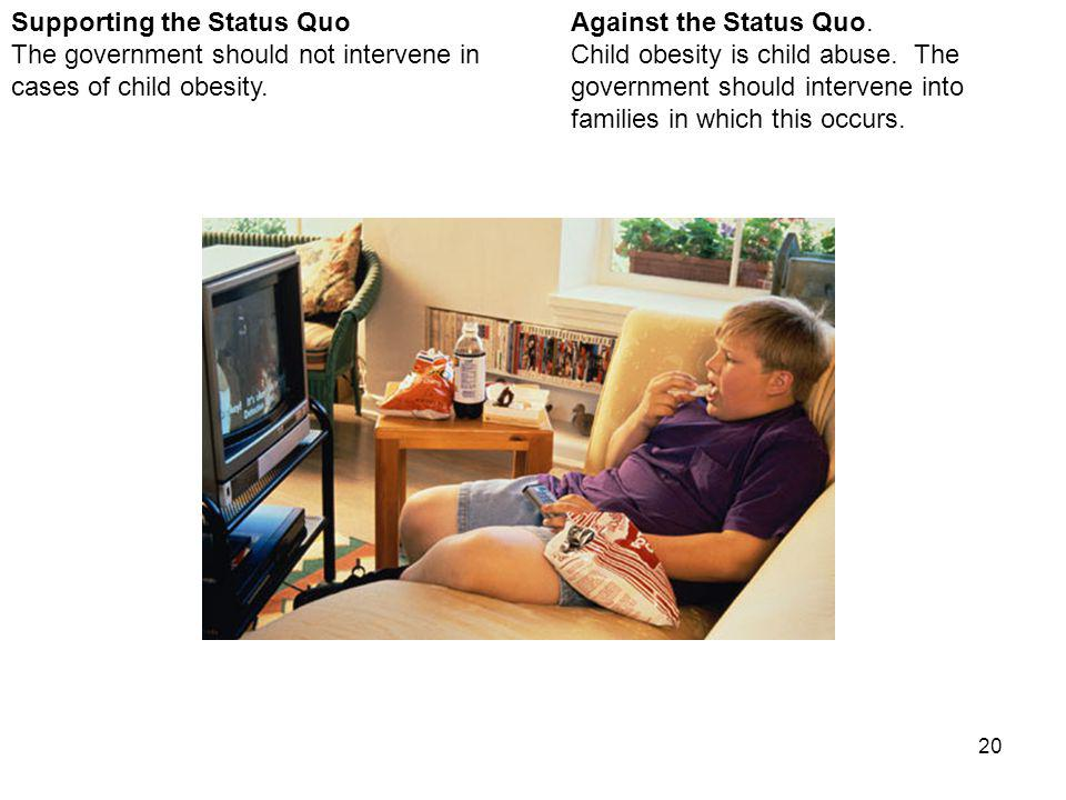 20 Against the Status Quo. Child obesity is child abuse.