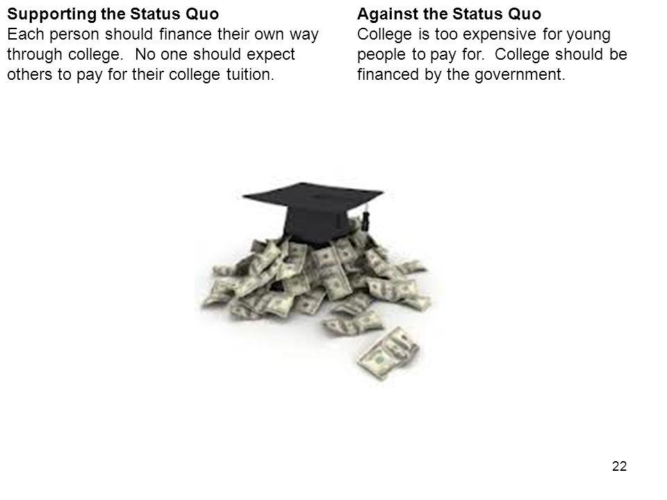 22 Against the Status Quo College is too expensive for young people to pay for.