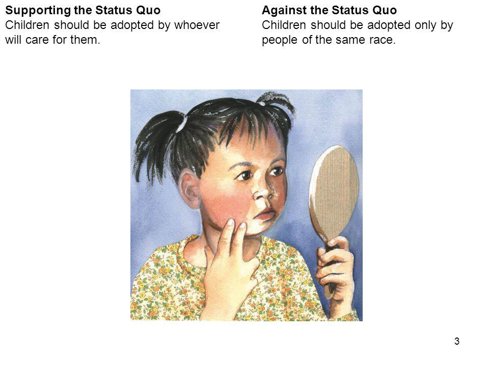 3 Against the Status Quo Children should be adopted only by people of the same race.