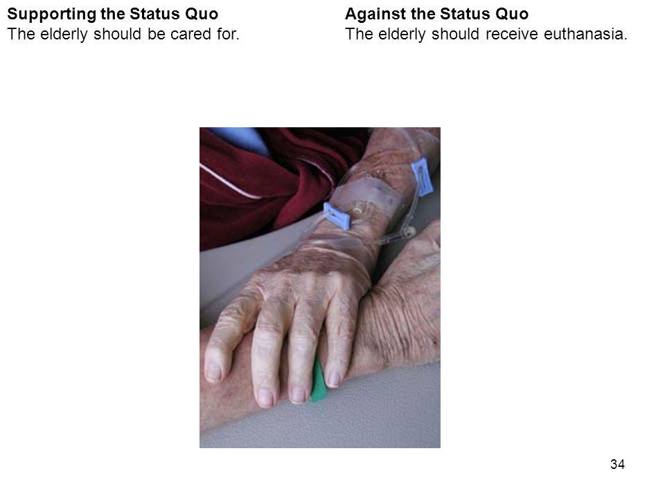34 Against the Status Quo The elderly should receive euthanasia.