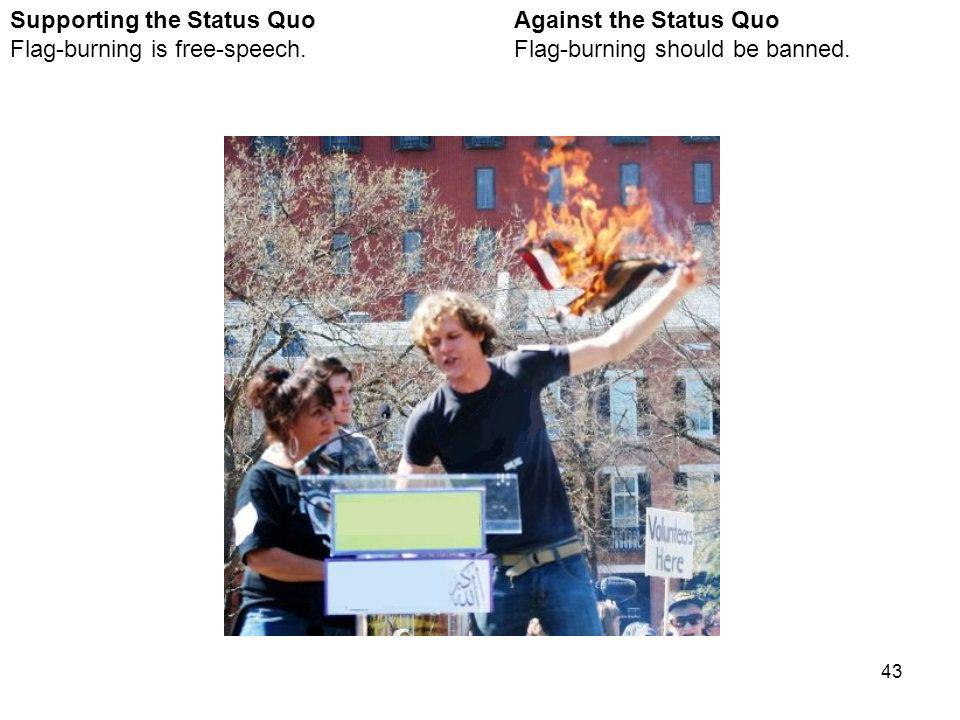 43 Against the Status Quo Flag-burning should be banned.