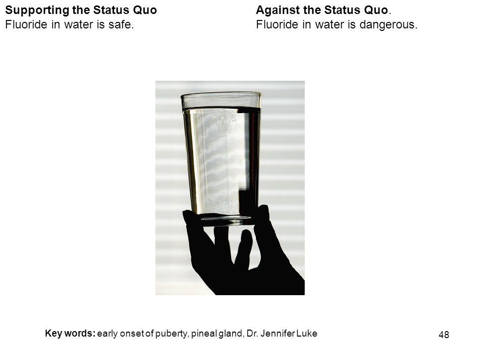 48 Against the Status Quo. Fluoride in water is dangerous.