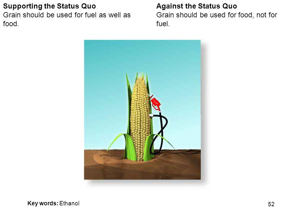 52 Against the Status Quo Grain should be used for food, not for fuel.