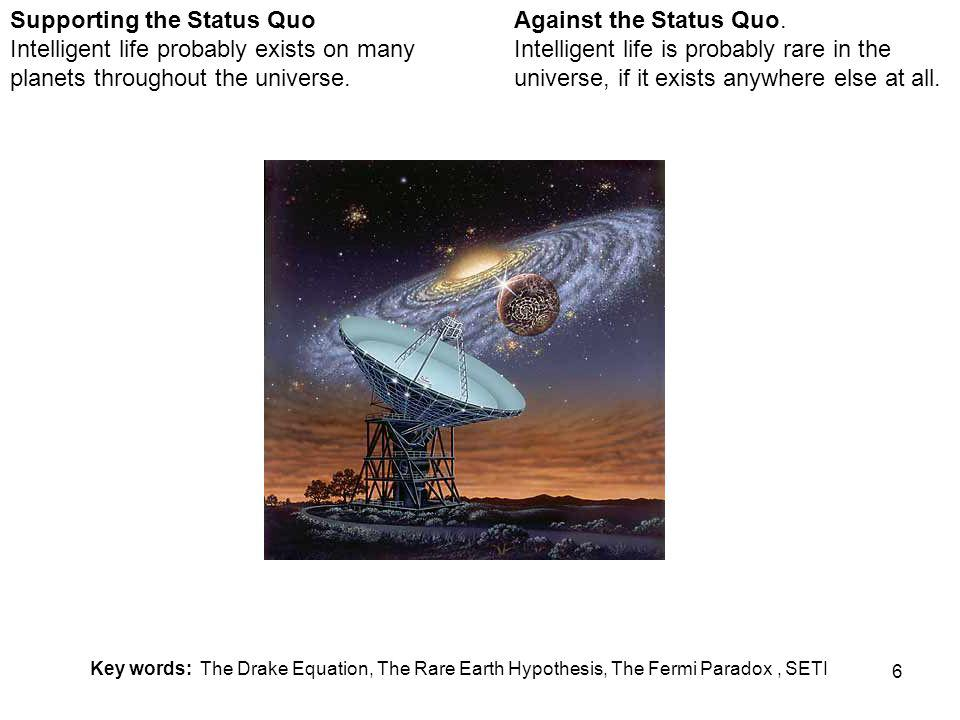 6 Against the Status Quo. Intelligent life is probably rare in the universe, if it exists anywhere else at all. Supporting the Status Quo Intelligent
